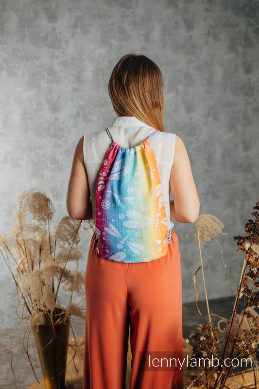 Sackpack made of wrap fabric (100% cotton) - DRAGONFLY RAINBOW- standard size 32cmx43cm #babywearing