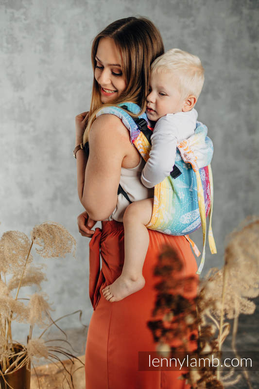 Lenny Buckle Onbuhimo baby carrier, toddler size, jacquard weave (100% cotton) - DRAGONFLY RAINBOW #babywearing