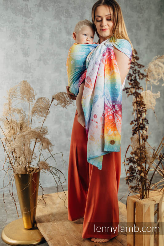 Ringsling, Jacquard Weave (100% cotton) with gathered shoulder - DRAGONFLY RAINBOW - standard 1.8m #babywearing