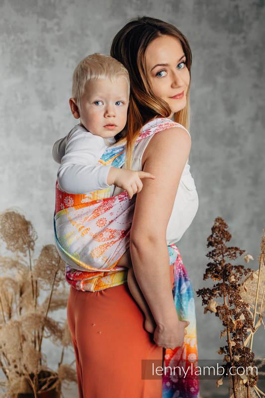 LennyHybrid Half Buckle Carrier, Standard Size, jacquard weave 100% cotton - DRAGONFLY RAINBOW #babywearing