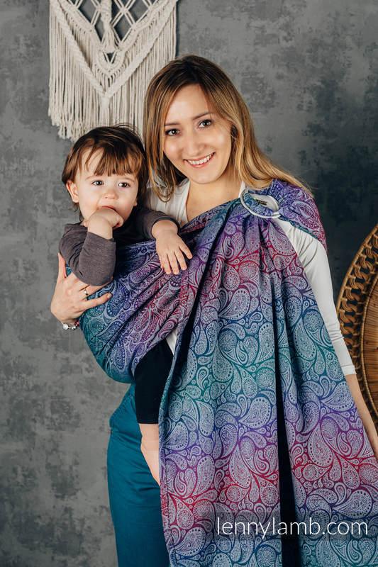 Ringsling, Jacquard Weave (100% cotton), with gathered shoulder - PAISLEY - KINGDOM - standard 1.8m #babywearing