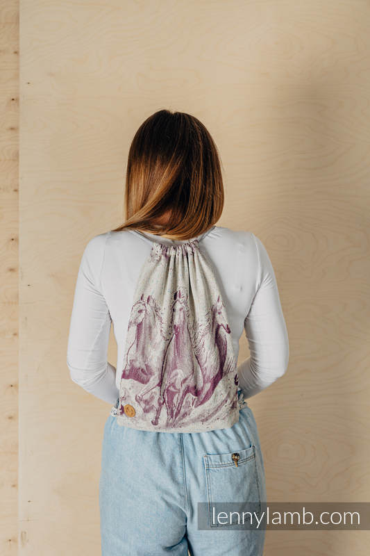 Sackpack made of wrap fabric (78% cotton 22% silk) - GALLOP - RACE - standard size 32cmx43cm #babywearing