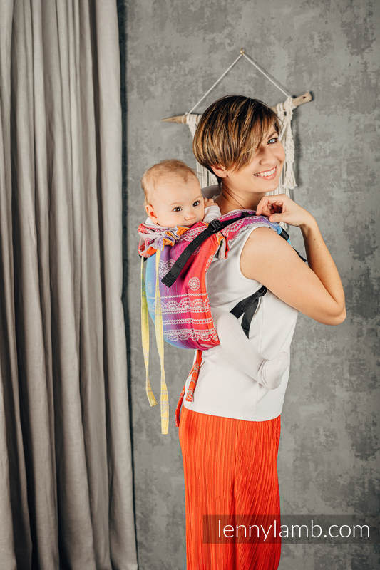 Lenny Buckle Onbuhimo baby carrier, toddler size, jacquard weave (100% cotton) - RAINBOW LACE SILVER  #babywearing
