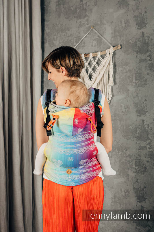 LennyGo Ergonomic Carrier, Baby Size, jacquard weave 100% cotton - RAINBOW LACE SILVER  #babywearing
