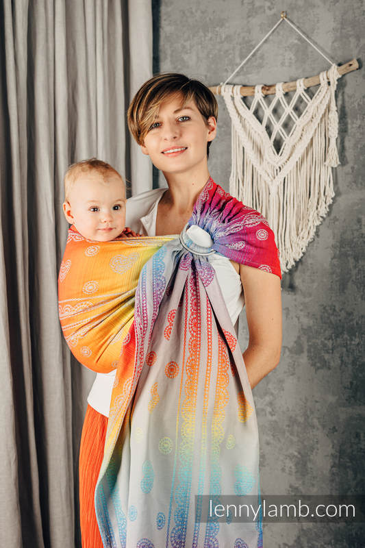 Ringsling, Jacquard Weave (100% cotton), with gathered shoulder - RAINBOW LACE SILVER - standard 1.8m #babywearing