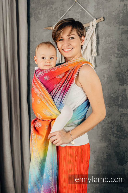 Baby Wrap, Jacquard Weave (100% cotton) - RAINBOW LACE SILVER - size M #babywearing