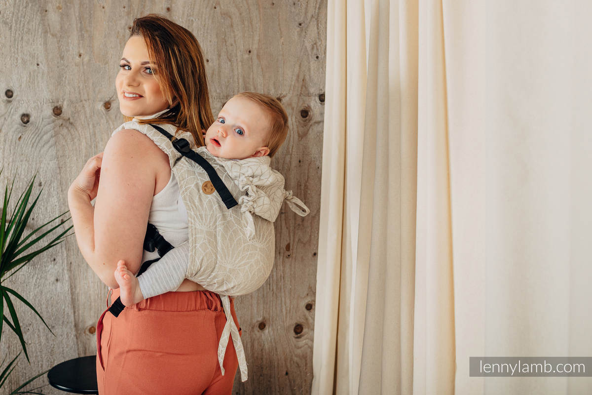 Lenny Buckle Onbuhimo baby carrier, toddler size, jacquard weave (100% linen) - LOTUS - NATURAL  #babywearing