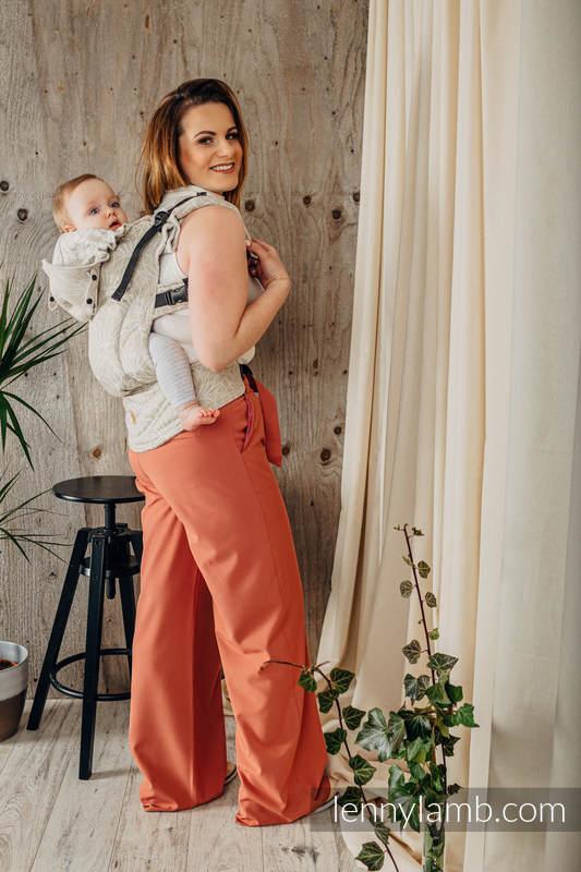 Porte-bébé ergonomique LennyGo, taille bébé, jacquard 100% lin, LOTUS - NATURAL  #babywearing