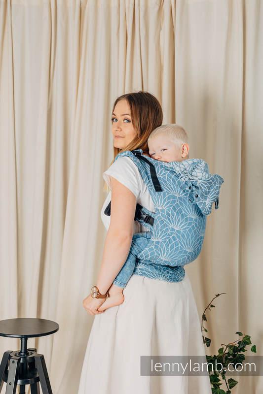 LennyGo Ergonomic Carrier, Baby Size, jacquard weave 100% linen - LOTUS - BLUE #babywearing