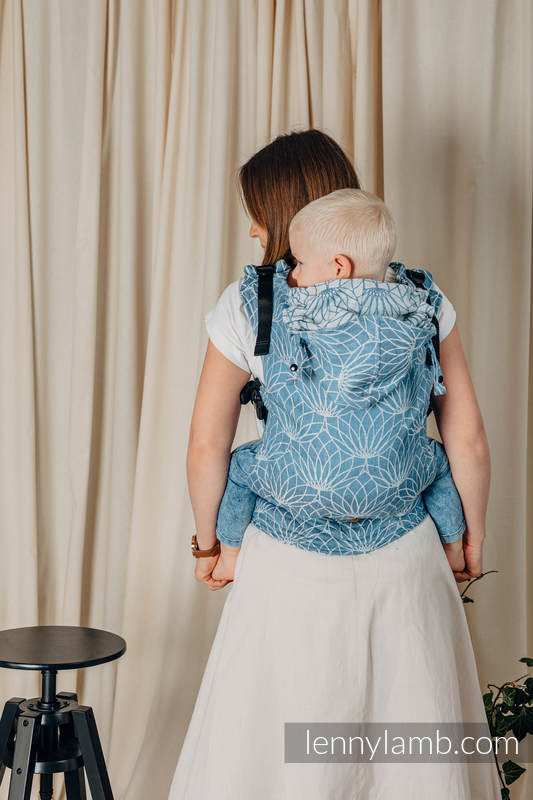 LennyGo Ergonomic Carrier, Toddler Size, jacquard weave 100% linen - LOTUS - BLUE  #babywearing