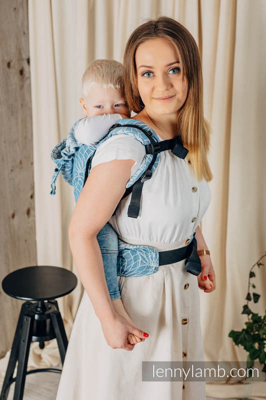 LennyGo Ergonomic Carrier, Toddler Size, jacquard weave 100% linen - LOTUS - BLUE  #babywearing