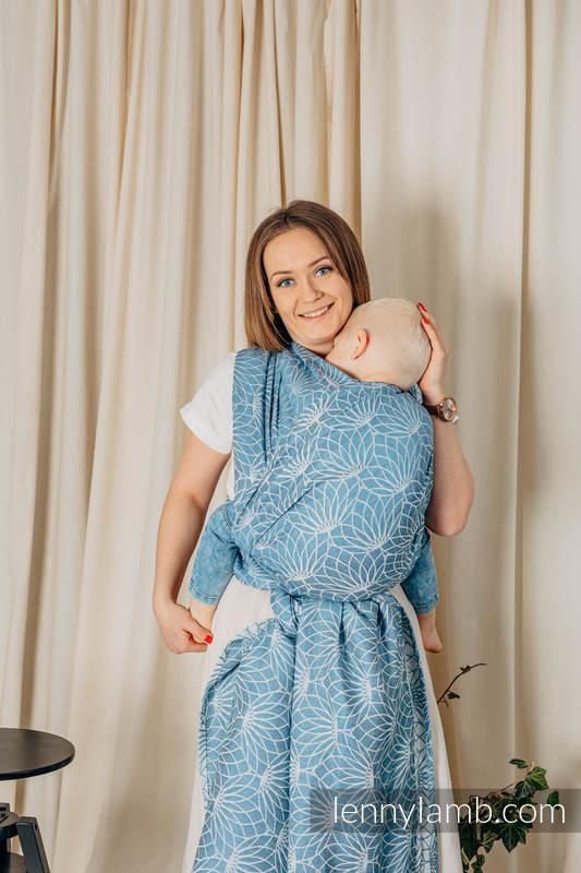 Écharpe, jacquard (100% lin) - LOTUS - BLUE - taille M #babywearing