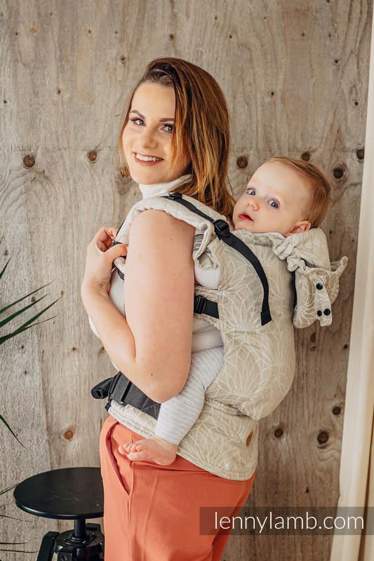LennyGo Ergonomic Carrier, Toddler Size, jacquard weave 100% linen - LOTUS - NATURAL  #babywearing