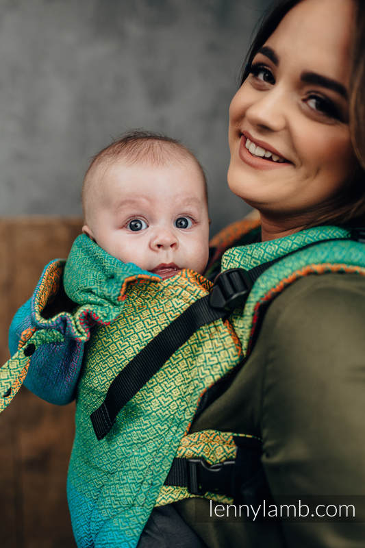 LennyGo Ergonomic Carrier, Baby Size, jacquard weave 100% cotton - LITTLELOVE JUNGLE #babywearing