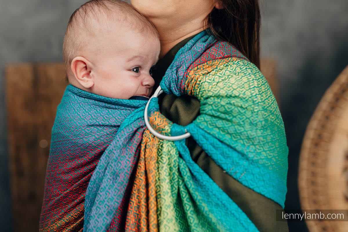 Ringsling, Jacquard Weave (100% cotton), with gathered shoulder - LITTLELOVE JUNGLE - standard 1.8m #babywearing