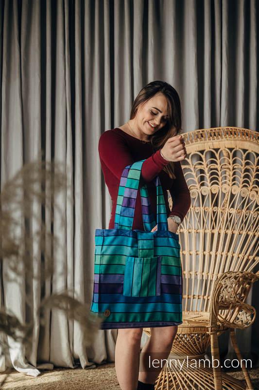 Schultertasche aus gewebtem Stoff (100% Baumwolle) - PROMENADE  - Größe Standard 37cmx37cm #babywearing