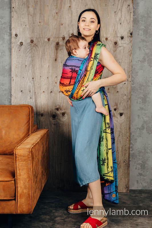 Baby Wrap, Jacquard Weave (100% cotton) - RAINBOW ISLAND - size XS #babywearing