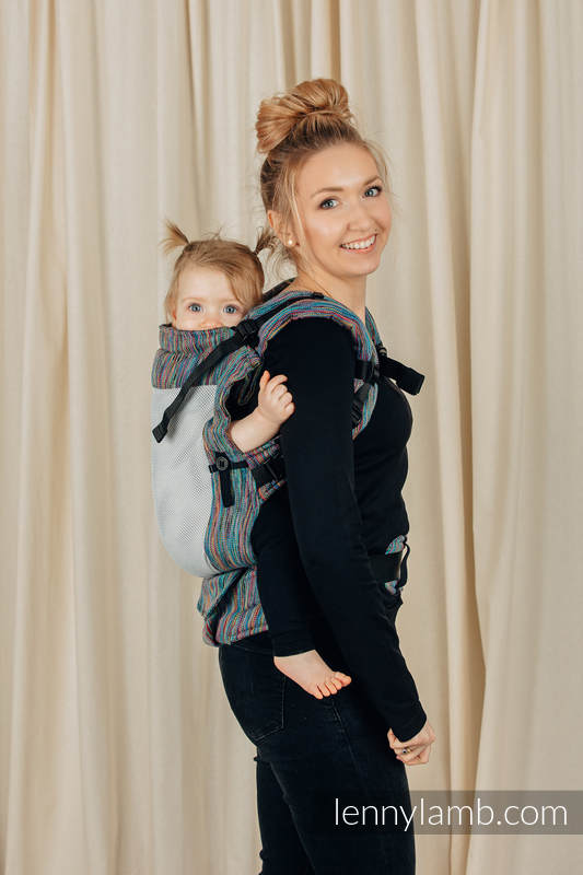 LennyUpGrade Mesh Carrier, Standard Size, jacquard weave (75% cotton, 25% polyester) - COLORFUL WIND  #babywearing