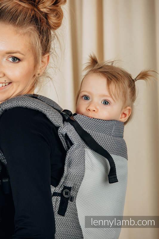 Marsupio LennyUpGrade Mesh, misura Standard, tessitura spina di pesce, (75% cotone, 25% poliester) - LITTLE HERRINGBONE OMBRE GREY #babywearing