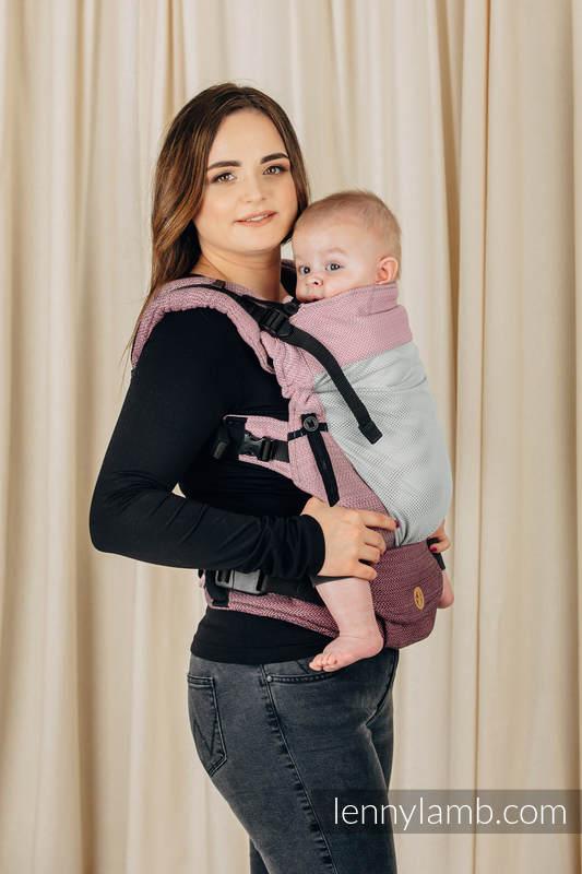 Mochila portabebé LennyUpGrade de malla, talla estándar, tejido Herringbone (75% algodón, 25% poliéster)  - LITTLE HERRINGBONE OMBRE PINK #babywearing