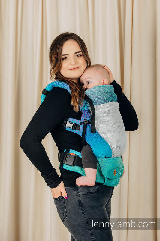 LennyUpGrade Mesh Carrier, Standard Size, jacquard weave (75% cotton, 25% polyester) - PEACOCK'S TAIL - FANTASY  #babywearing