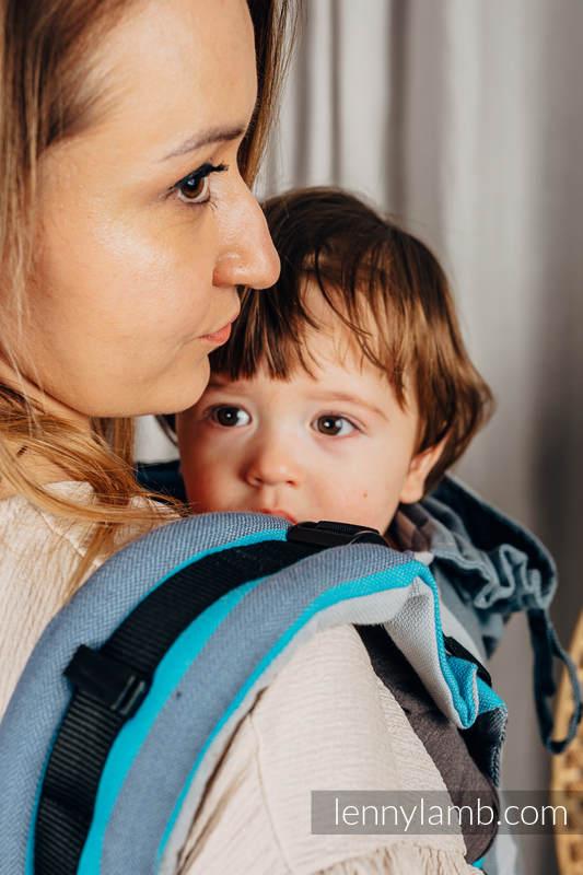Nosidełko Ergonomiczne LennyGo z tkaniny skośnokrzyżowej 100% bawełna , rozmiar Baby - MGLISTY PORANEK #babywearing