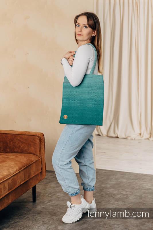 Bolsa de la compra hecho de tejido de fular (100% algodón) - LITTLE HERRINGBONEOMBRE GREEN  #babywearing
