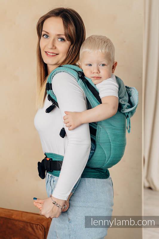 LennyGo Ergonomic Carrier, Baby Size, herringbone weave 100% cotton - LITTLE HERRINGBONE OMBRE GREEN  #babywearing