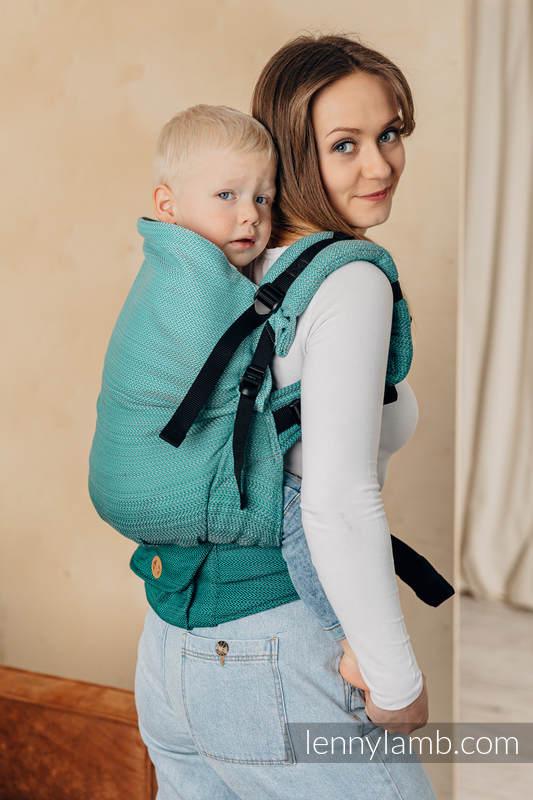 LennyPreschool Carrier, Preschool Size, herringbone weave 100% cotton - LITTLE HERRINGBONE OMBRE GREEN  #babywearing