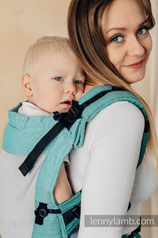 LennyUpGrade Mesh Carrier, Standard Size, herringbone weave (75% cotton, 25% polyester) - LITTLE HERRINGBONE OMBRE GREEN  #babywearing