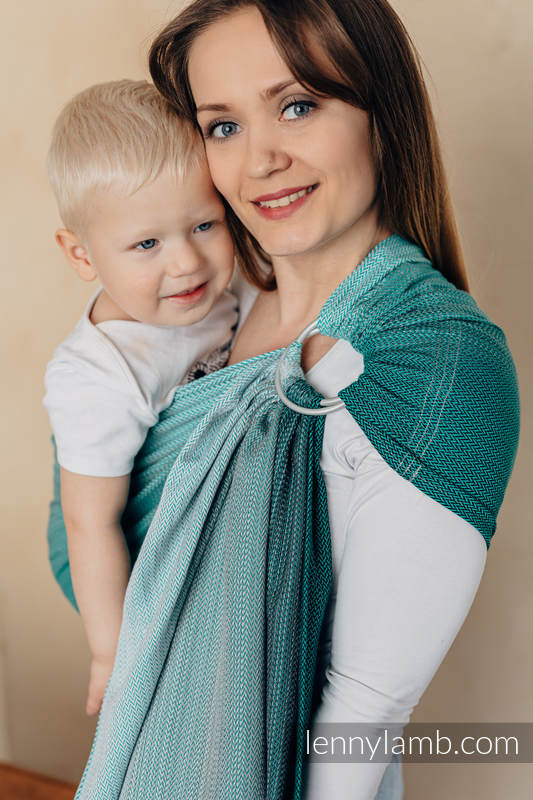 Ringsling, Jacquard Weave (100% cotton), with gathered shoulder - LITTLE HERRINGBONE OBMRE GREEN - standard 1.8m #babywearing