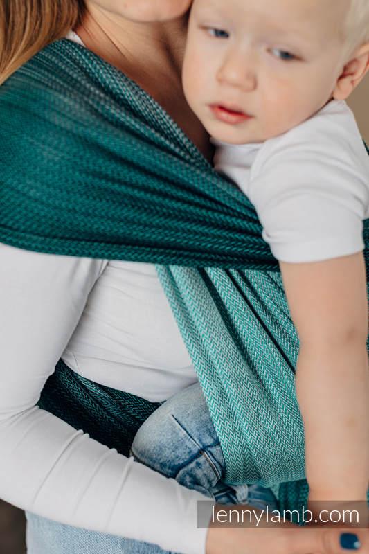 Baby Wrap, Herringbone Weave (100% cotton) - LITTLE HERRINGBONE OMBRE GREEN - size XS #babywearing