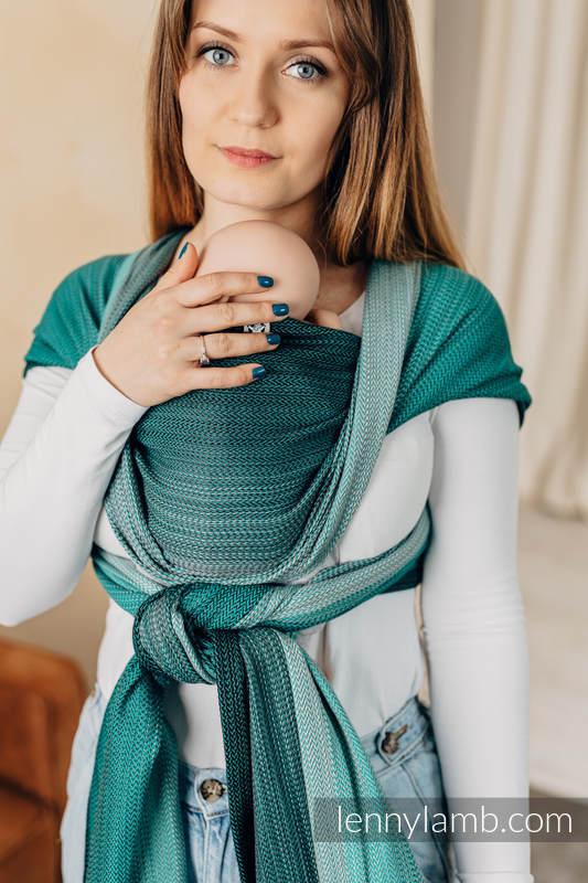 Chusta dla dzieci z niską wagą urodzeniową - MAŁA JODEŁKA OMBRE ZIELEŃ, splot jodełkowy (100% bawełna) - rozmiar S #babywearing