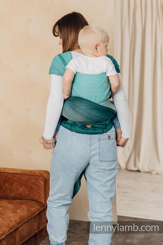 Nosidełko  LennyHybrid Half Buckle, splot jodełkowy, 100% bawełna , rozmiar standard - MAŁA JODEŁKA OMBRE ZIELEŃ  #babywearing