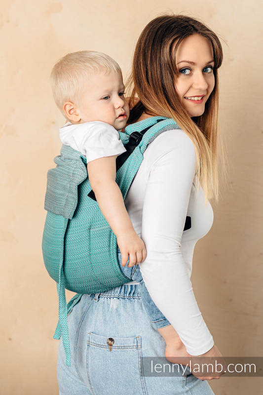 Lenny Buckle Onbuhimo baby carrier, toddler size, herringbone weave (100% cotton) - LITTLE HERRINGBONE OMBRE GREEN  #babywearing