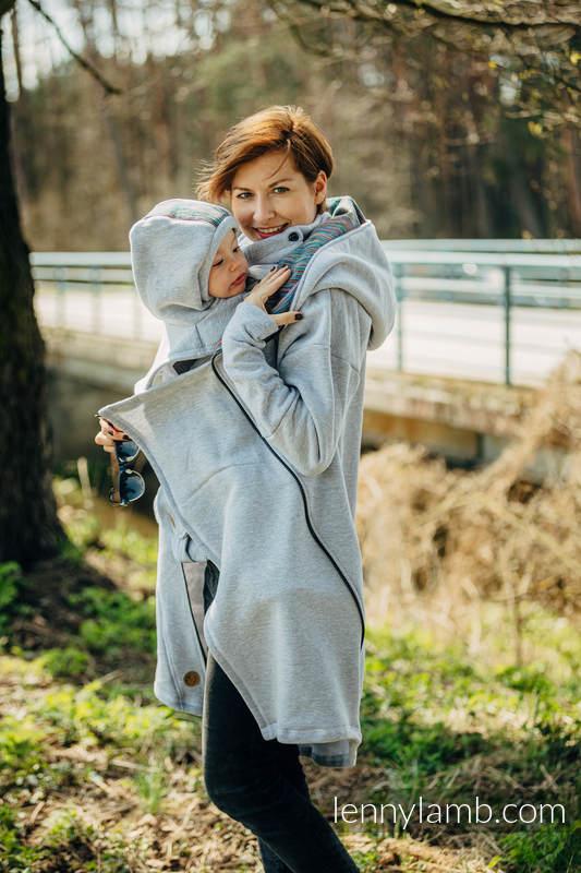 Turtleneck for two (knitted sweatshirt fabric)  - Grey Melange & Colorful Wind #babywearing