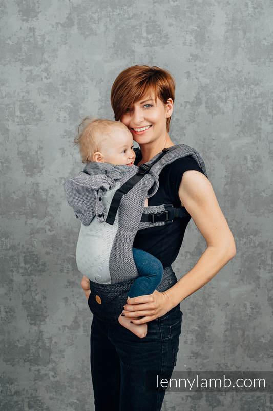 Siatkowe Nosidełko Ergonomiczne LennyGo, splot jodełkowy, 86% bawełna, 14% poliester, rozmiar Baby - MAŁA JODEŁKA OMBRE SZARY #babywearing