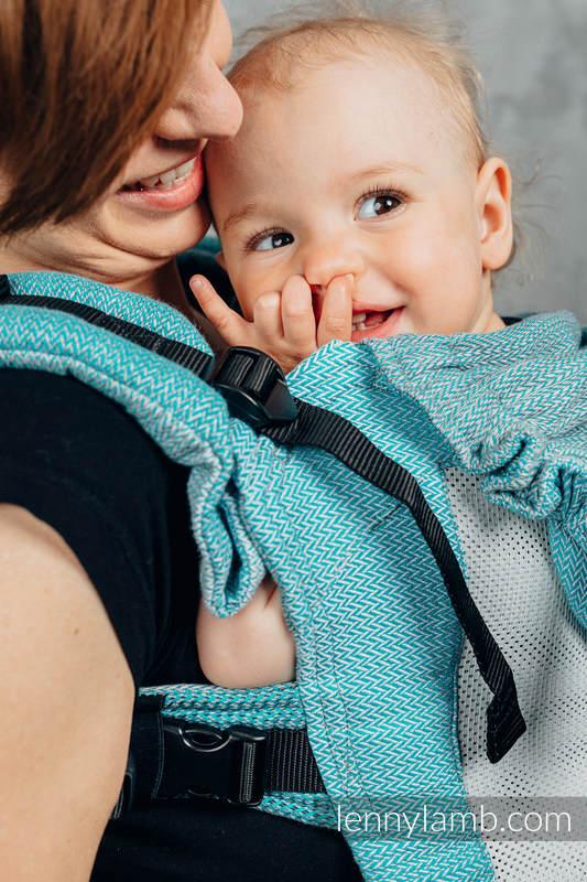 Siatkowe Nosidełko Ergonomiczne LennyGo, splot jodełkowy, 86% bawełna, 14% poliester, rozmiar Baby - MAŁA JODEŁKA OMBRE MORSKI #babywearing