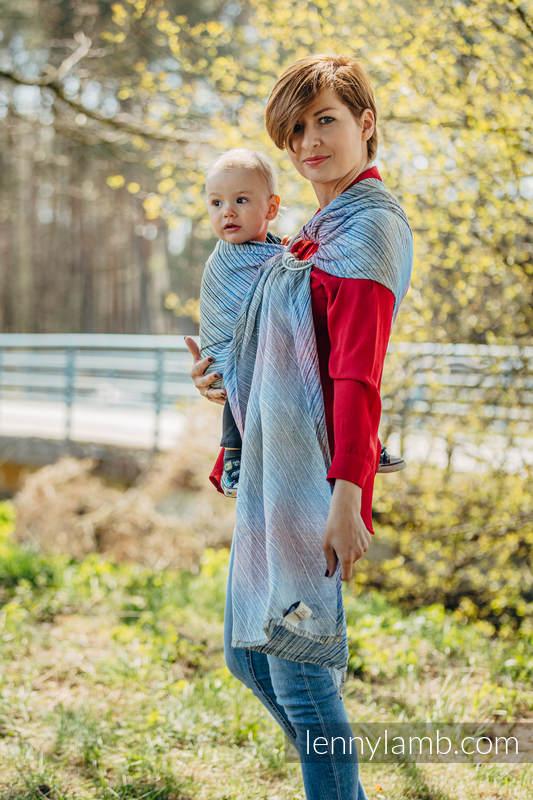 Żakardowa chusta kółkowa do noszenia dzieci, 100% len, ramię bez zakładek - TERRA - SZUM - standard 1.8m #babywearing