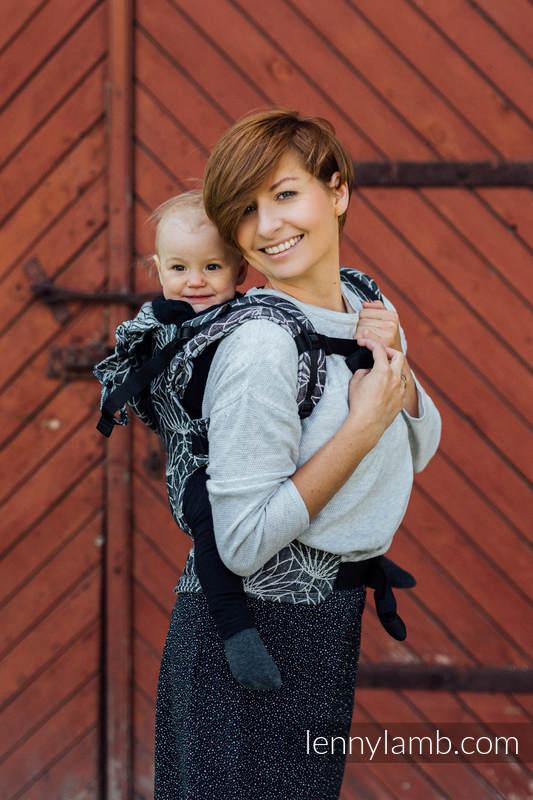 Ergonomische Tragehilfe LennyGo, Größe Baby, Jacquardwebung, 100% Leinen - LOTUS - BLACK #babywearing