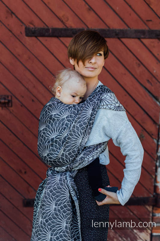 Tragetuch, Jacquardwebung (100% Leinen) - LOTUS - BLACK - Größe S #babywearing