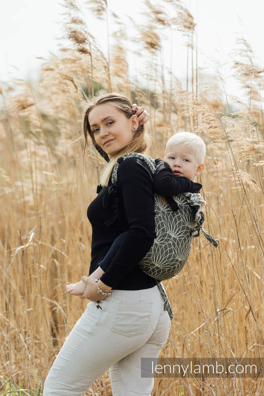 Nosidło Klamrowe ONBUHIMO  z tkaniny żakardowej (100% len), rozmiar Standard - LOTOS - KHAKI  #babywearing