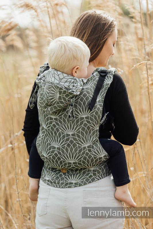 Mochila ergonómica LennyGo, talla bebé, jacquard (100% lino) - LOTUS - KHAKI  #babywearing