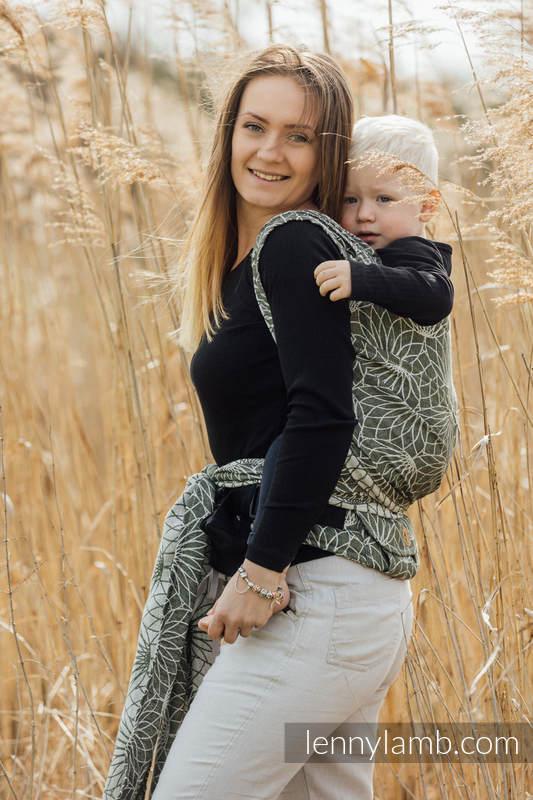 LennyHybrid Half Buckle Carrier, Standard Size, jacquard weave 100% linen - LOTUS - KHAKI  #babywearing