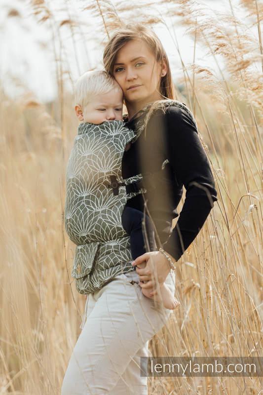 Porte-bébé LennyUpGrade, taille standard, jacquard, 100% Lin, LOTUS - KHAKI  #babywearing