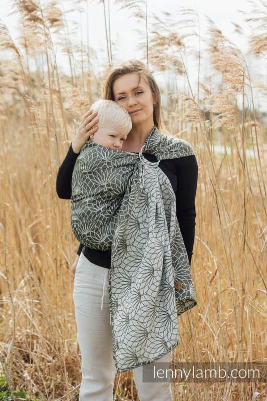 Sling, jacquard (100% lin) - avec épaule sans plis -  LOTUS - KHAKI - standard 1.8m #babywearing