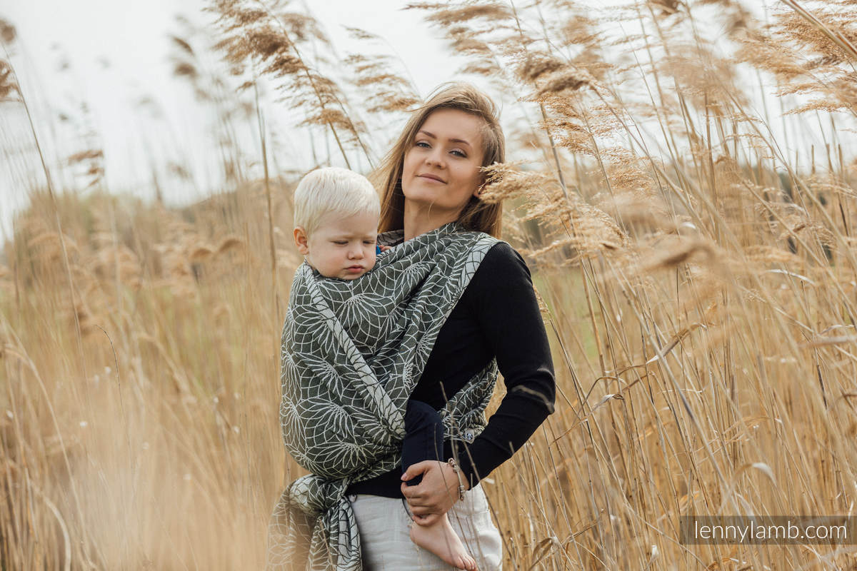 Écharpe, jacquard (100% lin) - LOTUS - KHAKI - taille XS #babywearing
