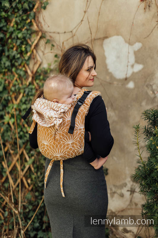 Lenny Buckle Onbuhimo baby carrier, standard size, jacquard weave (100% linen) - LOTUS - GOLD  #babywearing
