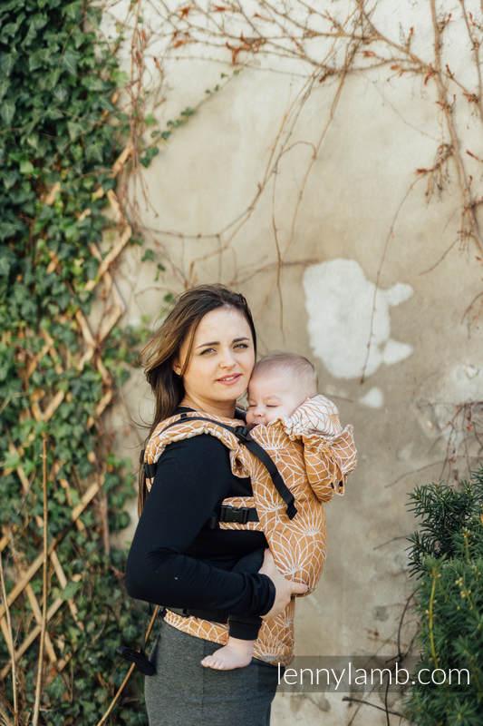 LennyGo Ergonomic Carrier, Baby Size, jacquard weave 100% linen - LOTUS - GOLD  #babywearing