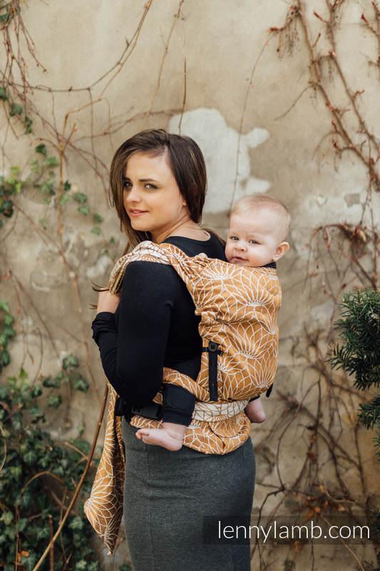 Porte-bébé LennyHybrid Half Buclke, taille standard, jacquard, 100% lin - LOTUS - GOLD  #babywearing